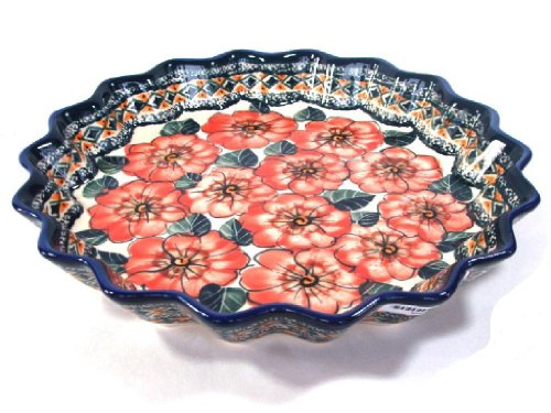 Polish Stoneware Scalloped Pie Dish, Unikat Pottery Hand-made and Signed by Artist