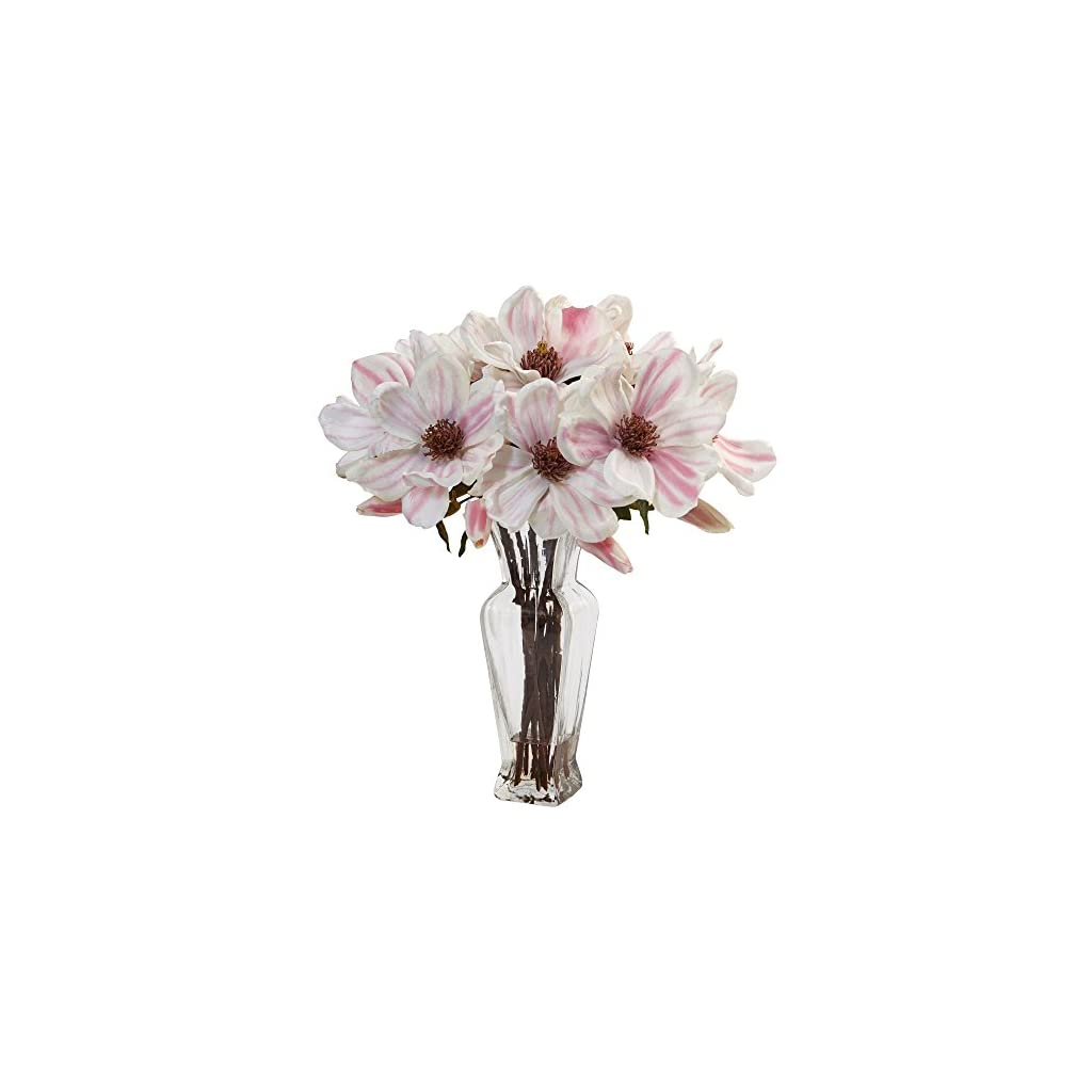 Nearly-Natural-Magnolia-Artificial-Arrangement-in-Vase-PinkWhite