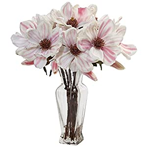 Nearly Natural Magnolia Artificial Arrangement in Vase Pink/White 26