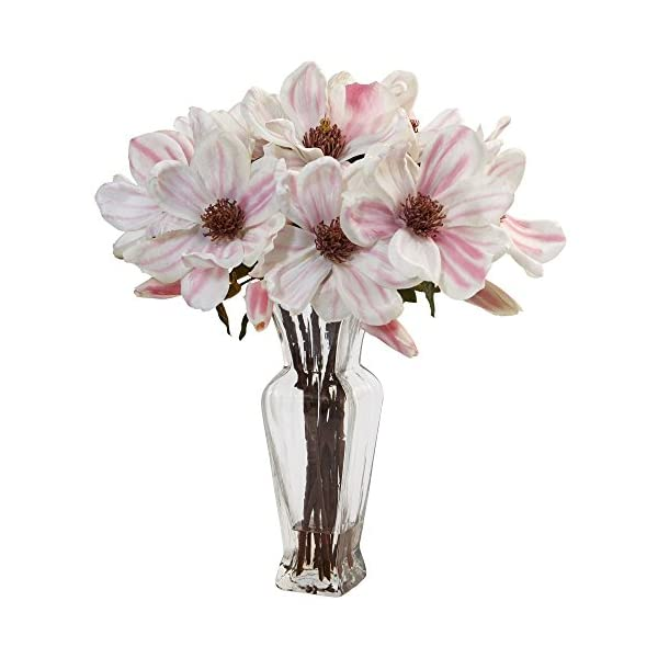Nearly Natural Magnolia Artificial Arrangement In Vase Pinkwhite