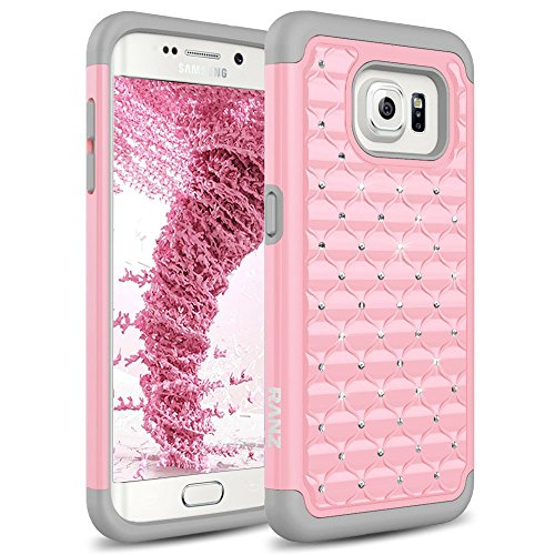 Galaxy S7 Edge Case, RANZ Grey/ Pink Spot Diamond Studded Bling Crystal Rhinestone Dual Layer Hybrid Cover Silicone Rubber Skin Hard Case For Samsung Galaxy S7 - Rhinestones Cover