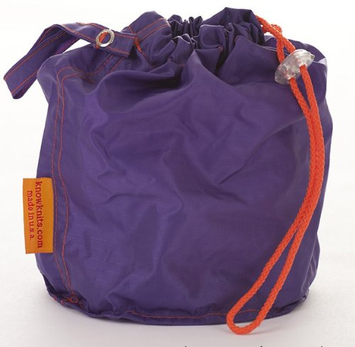 Purple Small GoKnit Pouch Project Bag w/ Loop & Drawstring by KnowKnits