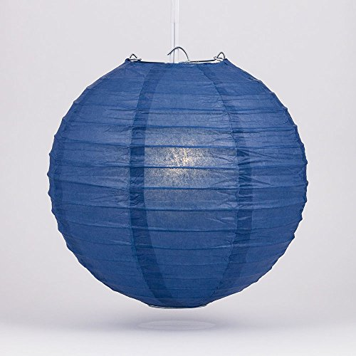PaperLanternStorecom-24-Navy-Blue-Round-Paper-Lantern-Even-Ribbing-Hanging-Decoration