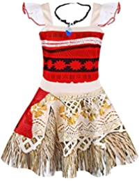 33472fd934 Princess Moana Dress Little Girls Lace Sleeveless Costume Cosplay Outfit