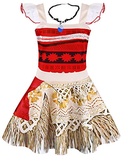 Cotrio Moana Princess Dress Up with Necklace Birthday Party Fancy Dresses Helloween Costume for Girls Sleeveless Outfits Clothing (120, -