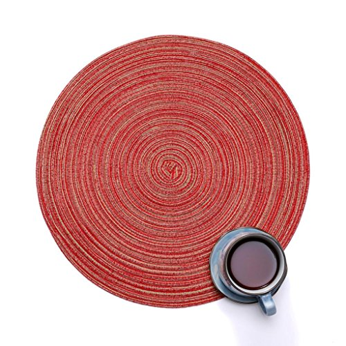 YJYDADA Round Circle Placemats Table Place Mats Kitchen Dinner Table Heat Pads 35cm (Red)