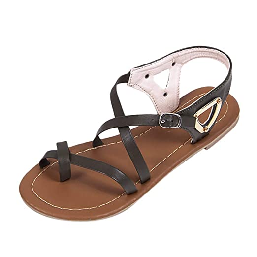 ad220522e16 JJLIKER Women Gladiator Clip Toe Crisscross Strappy Hollow Flat Sandals  Ankle Buckle Strap Shoes Summer Fashion