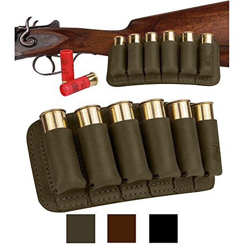 BronzeDog Leather Cartridge Ammo Holder, Hunting Leather Cartridge Ammo Bag Belt Holster, Leather Shell Cartridge Wallet Ammo Pouch Shotgun Rifle (Khaki)