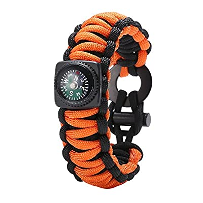 Gonex 550 Paracord Survival Bracelet, Emergency Survival Kit with Compass, Eye Knife, Fire Starter, Fishing Tool for Camping, Hiking, Hunting, Travelling