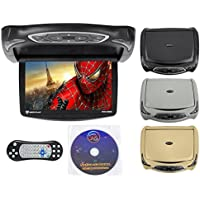 Rockville RVD14BGB Black/Grey/Tan 14 Flip Down Car Monitor W DVD/HDMI/Games/USB