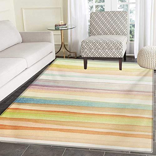 - Pastel Door Mats Area Rug Horizontal Watercolors Stripes Acrylic Artistic Elements Liquid Brushstrokes Print Floor mat Bath Mat tub 24