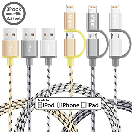 Dual Cable Charging - (3Pack) 3.3Ft Miger MFi Certified 2 in 1 Lightning and Micro USB Nylon Braided Charging/Sync Cables Cords Compatible with iPhone/iPod/iPad and Samsung Galaxy, Sony, Nexus, More (Gold+Gray+Silver)