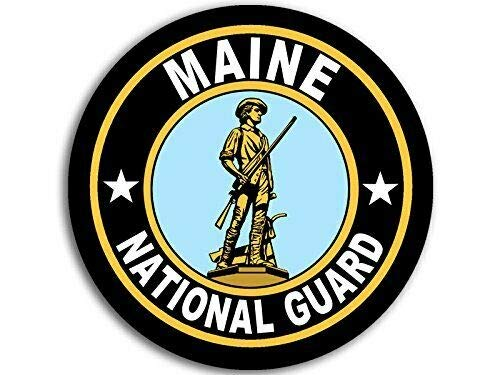 JR Studio 4x4 inch Round Maine National Guard Seal Sticker (Logo Insignia Army) Vinyl Decal Sticker Car Waterproof Car Decal Bumper Sticker