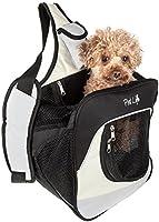 Bolso de espalda con correa que pasa sobre el hombro, sirve para caminar con las manos libres y con bolsa frontal para cargar a tu mascota; gris, blanco y negro, en un solo tamaño