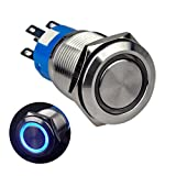 """Ulincos Momentary Push Button Switch U19C3 1NO1NC Silver Stainless Steel Shell with 12V Blue LED Ring Suitable for 19mm 3/4"""" Mounting Hole (Blue)"""