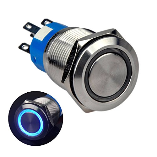 Ulincos Momentary Push Button Switch U19C3 1NO1NC Silver Stainless Steel Shell with 12V Blue LED Ring Suitable for 19mm 3/4 Mounting Hole (Blue)