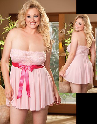 [Shirley of Hollywood Women's Plus-Size Queen Size Elegant Strapless Bow Trimmed Babydoll with G String, Pink, One] (Baby Doll In Box Costume)
