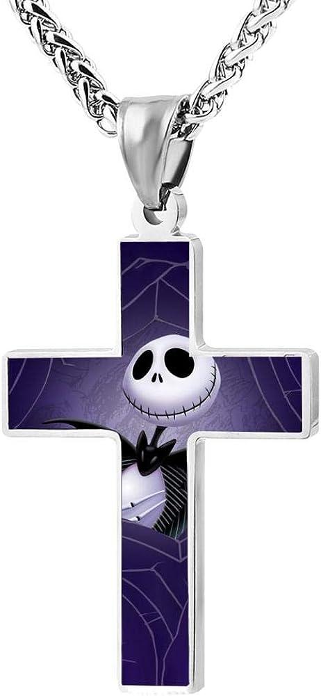 BEKAI Red Halloween Jac-k Faith Cross Zinc Alloy Necklaces 24in