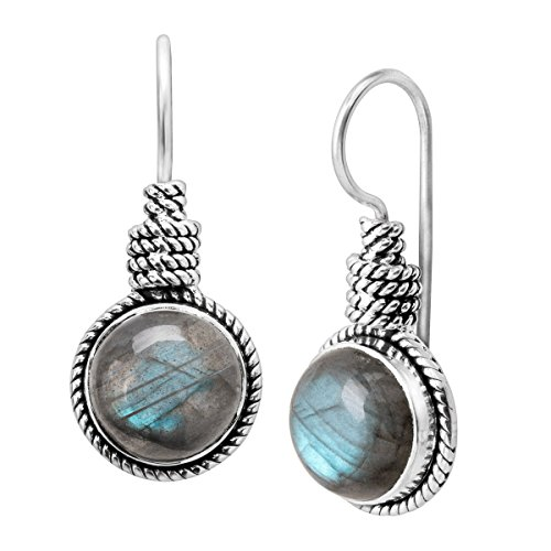 Silpada All Aboard 4 ct Natural Labradorite Twisted Rope Drop Earrings in Sterling Silver