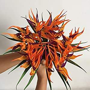 Lily Garden Latex Real Touch Bird of Paradise Flowers Wedding Bouquet (Orange) 109