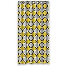 "Yellow Gray Black Moroccan Trellis Latticework Shower Curtains,Polyester Waterproof,36"" x 72"""