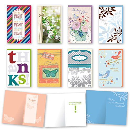 Assorted Thinking of You Cards Bulk Card Set of 8 Cards with Envelopes. Large Handmade Cards 5 x 8 with Foil/Glitter Finishes