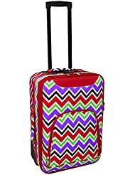 All-Seasons Chevron Multi-Print 20 Rolling Carry-On Luggage Suitcase