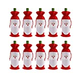 CUSFULL 10PC Santa Claus Christmas Drawstring Red Wine Bottle Cover Bags Home Party Decoration Dinner Party Table Decor Xmas Gift