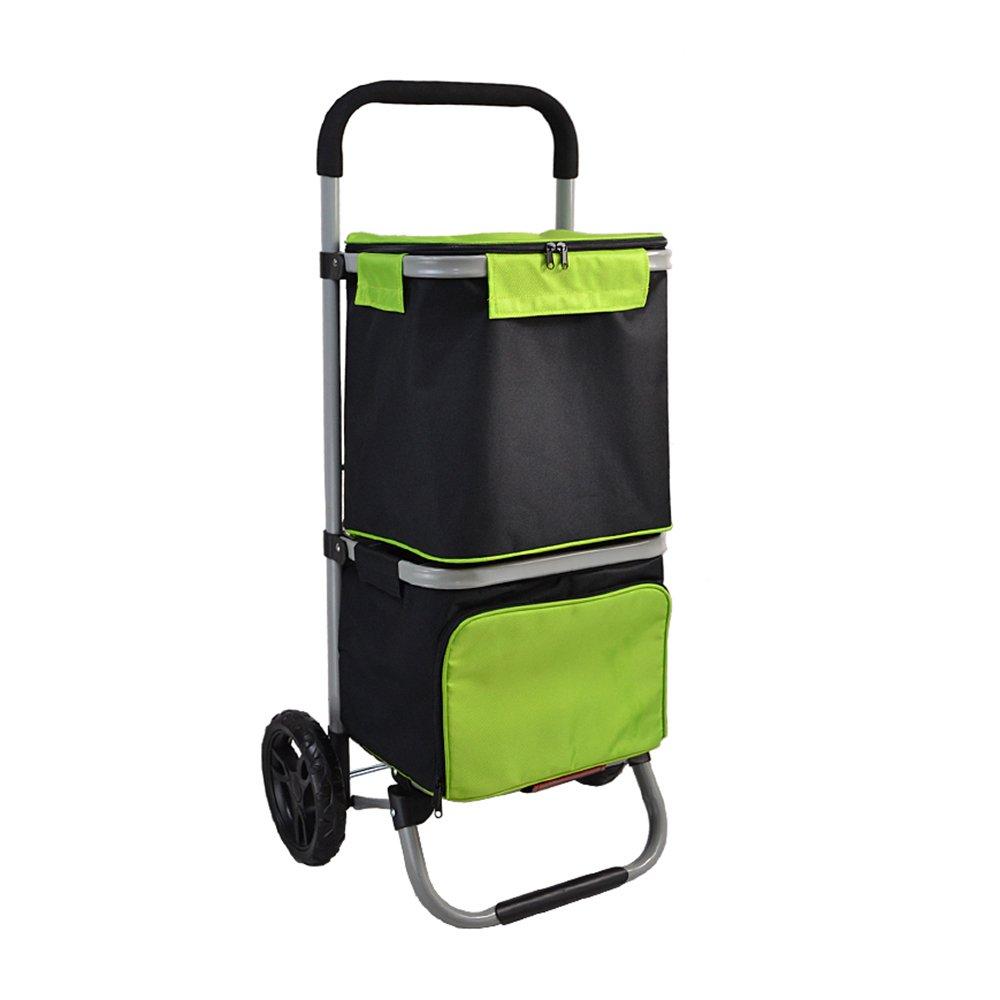 ショッピングキャ スチールフレームフレーム2層アイスバッグショッピングカート8インチベアリングホイールFoldable B07KVTYJYC