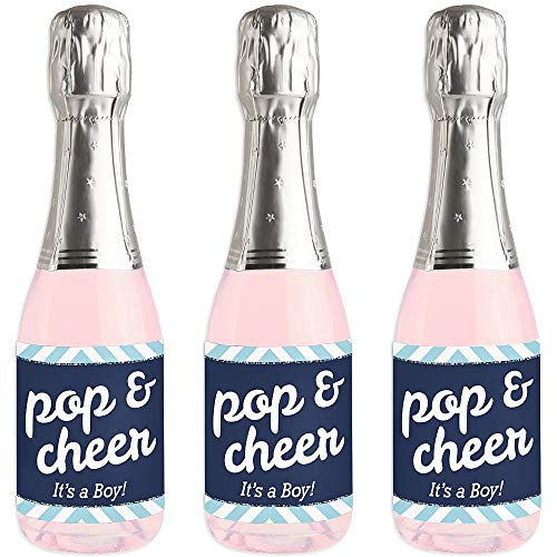 Blue Note Favor Set - Hello Little One - Blue and Silver - Mini Wine and Champagne Bottle Label Stickers - Boy Baby Shower Favor Gift - Set of 16