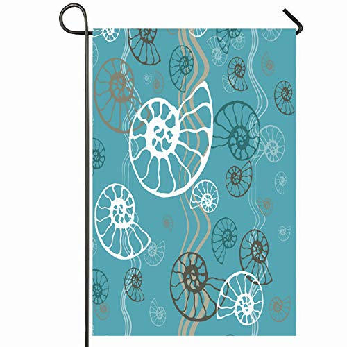 Ahawoso Outdoor Garden Flag 12x18 Inches Segment Beige Shell Seashell Nautilus Pattern Nature Blue Ammonite Ammonoidea Clam Contour Curve Seasonal Home Decorative House Yard - Nautilus House Shell