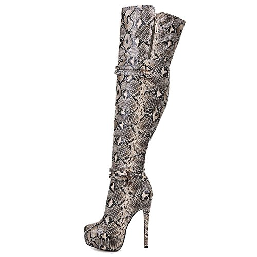 Heel Kleid Print Schuhe Frauen Stiletto Sexy Print Coolcept Stiefel High RFPHUpqFxn
