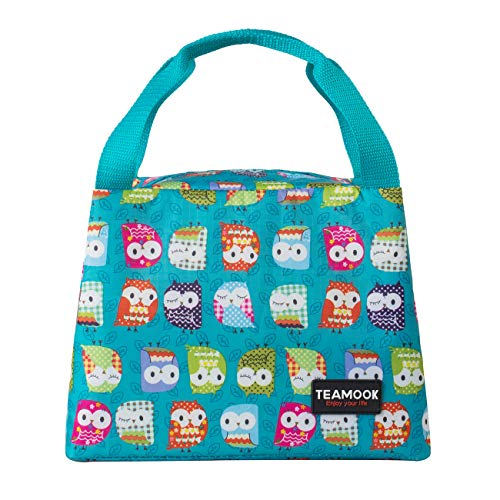 (TEAMOOK Lunch Bag Insulated Lunch Box Lunch Tote Bags for Women Work with PVC Card Pouch(Green Owl))