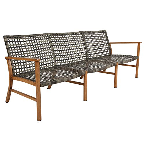 Ulax Furniture Patio 3-Seater Sofa Outdoor Open Weave All Weather Wicker Sofa Couch Commercial Outdoor Furniture
