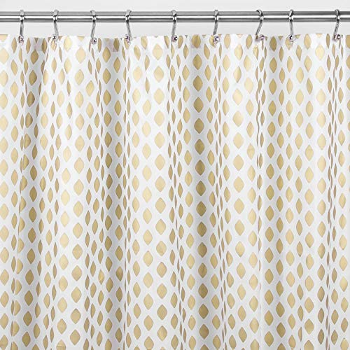 mDesign Decorative Diamond Print - Easy Care Fabric Shower Curtain with Reinforced Buttonholes, for Bathroom Showers, Stalls and Bathtubs, Machine Washable - 72