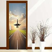 Homesonne 3D Door Wall Fridge Wrap Mural Scene Retro Bookcase Adhesive Sticker(airplane landing at airport during dusk hour)