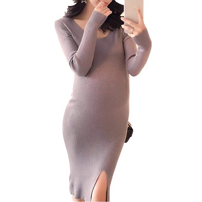 Vestido De Punto Mujer Primavera Otoño Embarazadas Vestidos Elegante Casuales Mujeres Elástica Casual Vintage Vestido Premama
