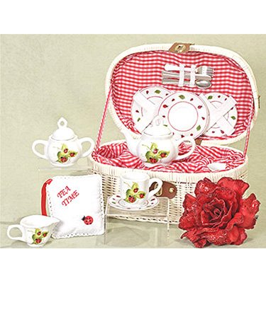Delton Products Ladybug Kids Tea Set for Two in Basket (19 Piece)
