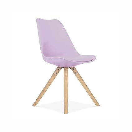Charmant Viborg Lavender Mid Century Side Chair Natural Base (Set Of 2)