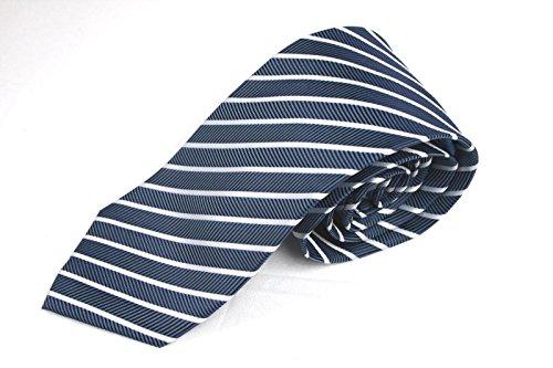 London Silk Necktie (Haines & Bonner of London Hand Made Striped Necktie 100% Silk Blue)