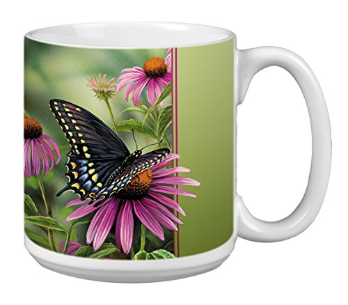 Butterfly Extra Large Mug, 20-Ounce Jumbo Ceramic Coffee Cup, Moments Rest Themed Butterflies - Gift for Nature Lovers (XM29504) Tree-Free Greetings]()