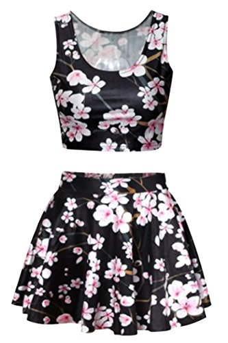 Black 3D Plum Blossom Printing High Waisted Skirt Tank Tops For Juniors Teens