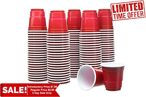 Party Bargains Mini Red Disposable Shot Glasses | Plastic Shot Cups, Jello Shots, Jager Bomb, Beer Pong, Perfect Size for Serving Condiments, Snacks, Samples and Tastings - 2oz | Pack - Get To Glasses Where Round