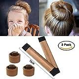 Ochioly Hair Bun Maker, Size 5.9 inch Magic Bun Shaper Donut Hair Styling for Kids Curler Roller Dish Headbands,3 Pack (Brown)