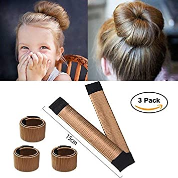 Ochioly Hair Bun Maker, Size 5.9 inch Magic Bun Shaper Donut Hair Styling for Kids Curler Roller Dish Headbands,3 Pack (Blonde)