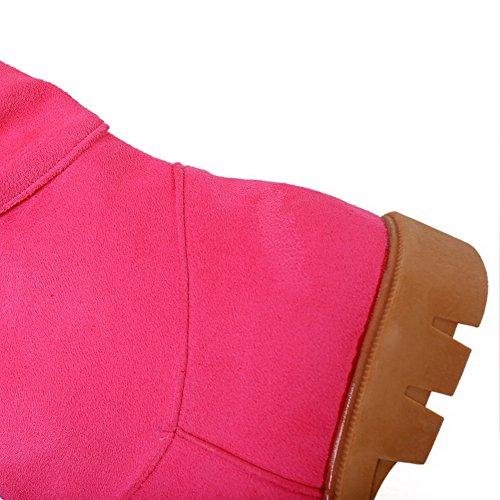 AllhqFashion Mujeres Sólido Mini Tacón Gamuza(Imitado) Sin cordones Botas Rosado