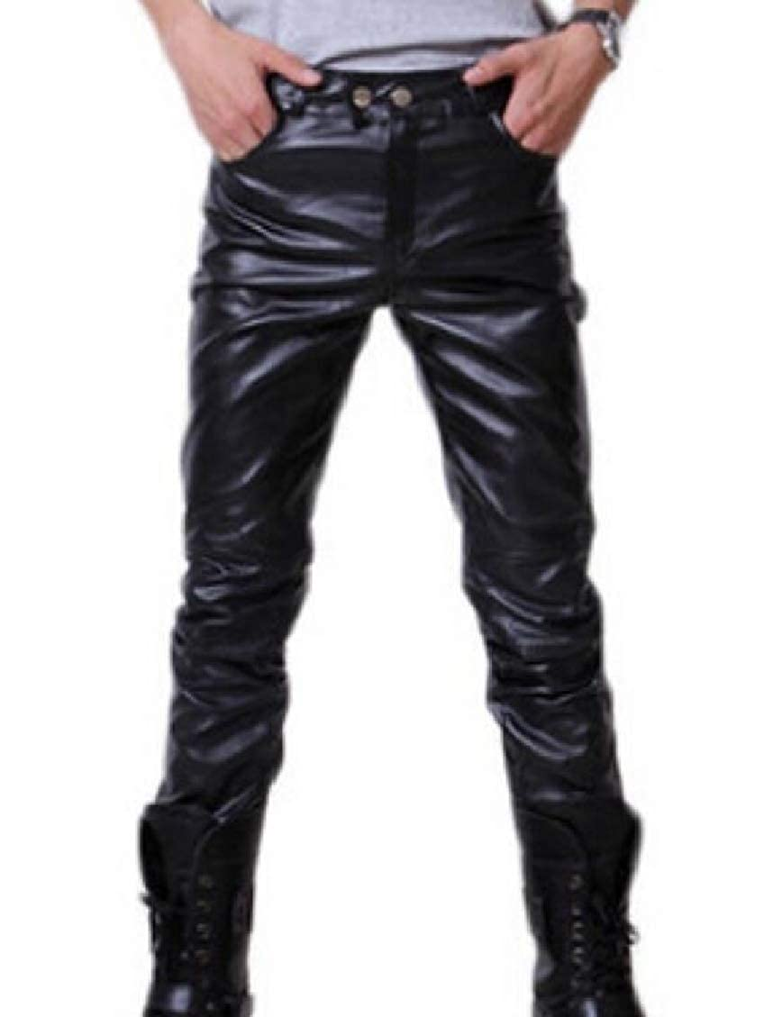 Spirio Mens Zipper Stretch Knit Casual Slim Fit Solid High Waist Pu Faux Leather Long Pants
