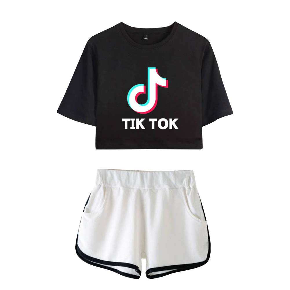 Short 2 Piezas Verano Conjunto Deportivo para Ni/ñas y Mujer BienBien Camiseta y Pantalones Cortos Set TIK TOK Impresa Crop Top T-Shirt