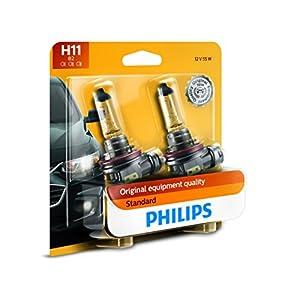 Philips H11 Standard Halogen Replacement Headlight Bulb, 2 Pack