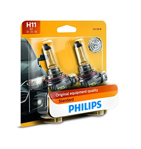Philips H11 Standard Halogen Replacement Headlight Bulb, 2 Pack (Headlights Halogen Car)